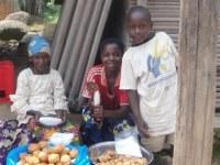 Cameroonian children selling roadside snacks