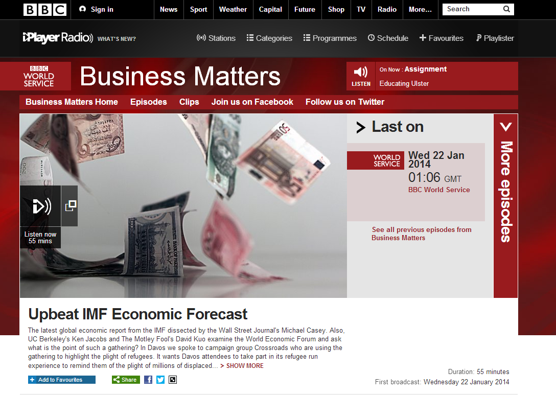 BBC Business Matters, January 2014