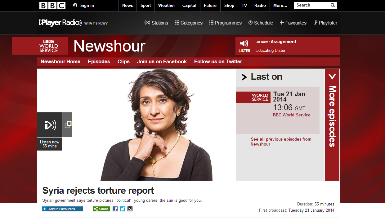 BBC Newshour, Jan 2014