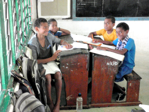 Crossroads' shipment includes more than 100 school desks to help upgrade classrooms.